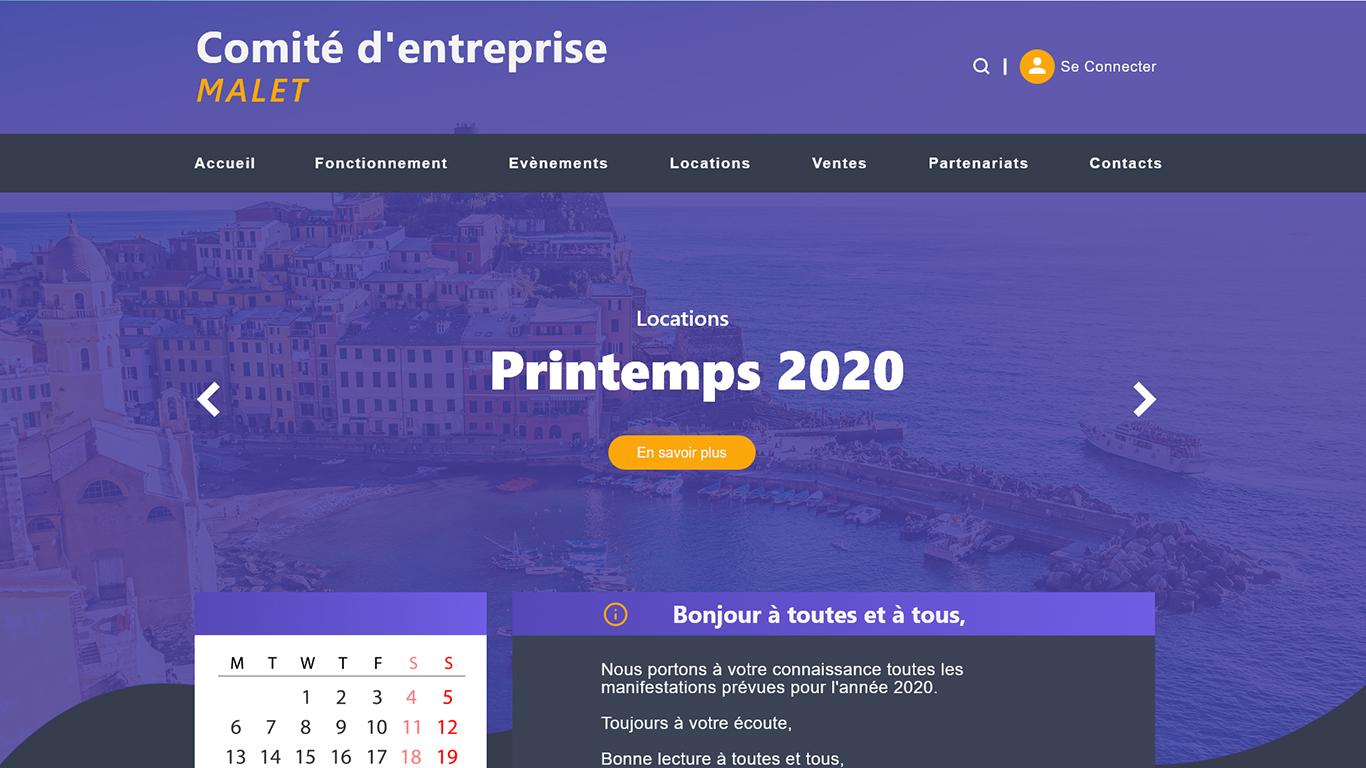 Comité d'entreprise MALET - site web dynamique réserver au membre - Maquettes Design Site Web